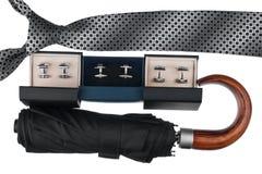 Les accessoires des hommes classiques, lien, parapluie, boutons de manchette Image stock