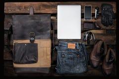 Les accessoires des hommes réglés, configuration plate Image stock