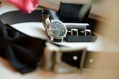Les accessoires du marié Photographie stock
