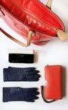 Les accessoires l ressort rouge Autumn Womens Accessories de femmes de mode de bourse de lunettes de soleil de gants en cuir vêtx photos libres de droits