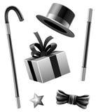 Les accessoires magiques ont placé du monsieur de prestidigitateur Photo stock