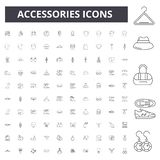 Les accessoires rayent des icônes, signes, ensemble de vecteur, illustration de concept d'ensemble illustration stock