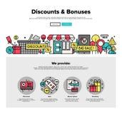 Les achats escomptent la ligne plate graphiques de Web Photographie stock libre de droits