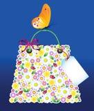 Les achats fleurissent le sac Photo stock