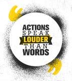 Les actions parlent plus fort que des mots Calibre créatif de inspiration d'affiche de citation de motivation Conception de banni illustration libre de droits