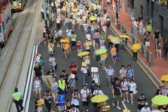 Les activistes 2015 de Hong Kong marchent en avant du vote sur le paquet électoral Photo libre de droits