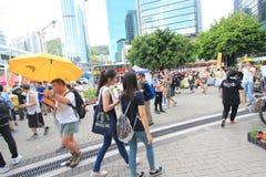 Les activistes 2015 de Hong Kong marchent en avant du vote sur le paquet électoral Photographie stock