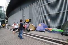 Les activistes 2015 de Hong Kong marchent en avant du vote sur le paquet électoral Images stock