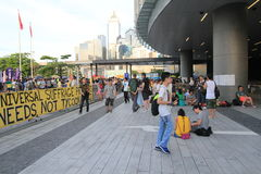 Les activistes 2015 de Hong Kong marchent en avant du vote sur le paquet électoral Photographie stock libre de droits