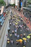 Les activistes 2015 de Hong Kong marchent en avant du vote sur le paquet électoral Image stock