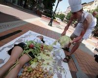Les activistes de végétarien et de vegan ont présenté une protestation photographie stock libre de droits