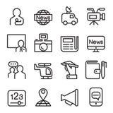 Les actualités et l'icône de médias ont placé dans la ligne style Photographie stock libre de droits