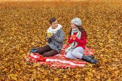 Les ados adorables communiquent l'entretien de thé de boissons tout en se reposant en parc sur un pique-nique de plaid Image libre de droits