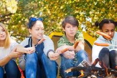 Les ados se reposent grillant des saucisses sur des bâtons, terrain de camping Images libres de droits