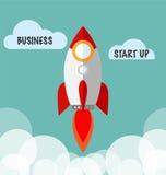 Les affaires commencent le concept avec Rocket Vector plat Image libre de droits