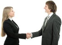 Les affaires d'homme et de femme team se serrant la main Images libres de droits