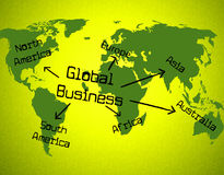 Les affaires globales indiquent Globe Planet et Corporation Photographie stock libre de droits