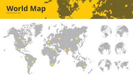 Les affaires ont pointillé la carte du monde avec les centres marqués et les globes économiques de la terre montrant tous les con illustration libre de droits