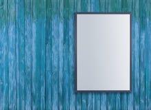 Les affiches blanches vides sur le mur dans le souterrain vide avec le banc en bois sur le plancher, raillent vers le haut de 3D  Images libres de droits
