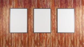 Les affiches blanches vides sur le mur dans le souterrain vide avec le banc en bois sur le plancher, raillent vers le haut de 3D  Photo libre de droits
