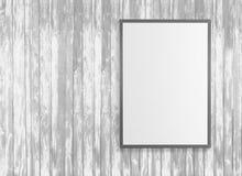 Les affiches blanches vides sur le mur dans le souterrain vide avec le banc en bois sur le plancher, raillent vers le haut de 3D  Image libre de droits
