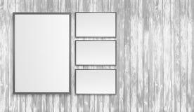 Les affiches blanches vides sur le mur dans le souterrain vide avec le banc en bois sur le plancher, raillent vers le haut de 3D  Photos libres de droits