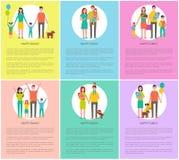 Les affiches heureuses de parents de famille dirigent l'illustration illustration stock
