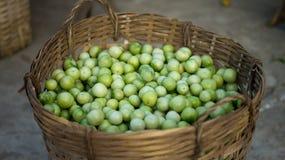 Les agriculteurs lancent les tomates sur le marché vertes fraîches Photographie stock
