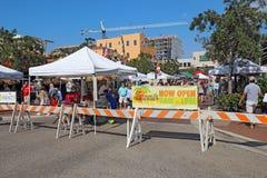 Les agriculteurs lancent sur le marché à Sarasota du centre, la Floride Photo libre de droits
