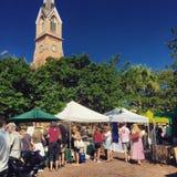 Les agriculteurs lancent sur le marché, Marion Square, Charleston, Sc Photographie stock
