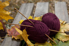 Les aiguilles de fil et de tricotage sont sur le banc en parc Photo stock