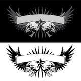 Les ailes de crâne avec la bannière tatouent le graphique de vecteur de style Image stock