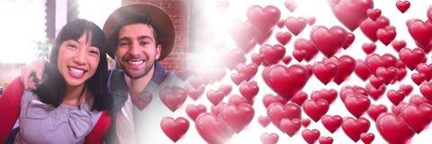 Les ajouter au ` s de valentine aiment des coeurs de transition Photographie stock