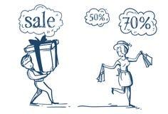 Les ajouter d'homme de femme à la bulle de achat de causerie de prix discount de concept de vente d'achats sur le croquis blanc d Illustration Stock