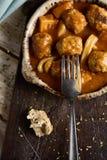 Les albondigas espagnols escroquent la sépia, boulettes de viande avec des seiches Photos stock
