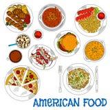 Les aliments de préparation rapide américains et les plats grillés esquissent l'icône Illustration de Vecteur
