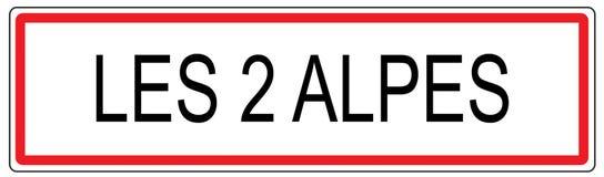 Les 2 Alpes miasta ruchu drogowego znaka ilustracja w Francja Obrazy Stock