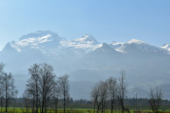 Les Alpes regardent Vaduz - de Liechtenstein Photographie stock