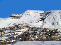 Les2Alpes ski resort town and slopes aerial view, France Royalty Free Stock Photography