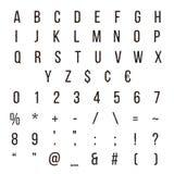 Les alphabets géométriques de police de Memphis de lettre ont placé d'isolement sur le fond blanc Image stock