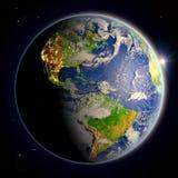 Les Amériques de l'espace au crépuscule Photo stock