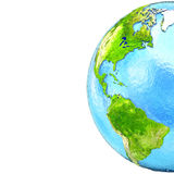 Les Amériques sur le modèle de la terre Images libres de droits