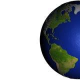 Les Amériques sur le modèle de la terre avec la terre de relief Images libres de droits