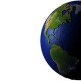 Les Amériques sur le modèle de la terre avec la terre de relief Image libre de droits