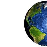 Les Amériques sur terre avec les montagnes exagérées Image libre de droits