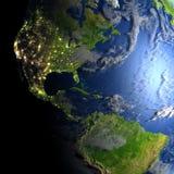 Les Amériques sur terre de planète Photos libres de droits