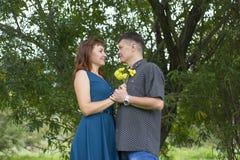 Les amants équipent et le support de femme à la nuance d'un arbre feuillu Photographie stock libre de droits