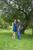 Les amants équipent et le support de femme à la nuance d'un arbre feuillu Images stock
