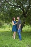 Les amants équipent et le support de femme à la nuance d'un arbre feuillu Photographie stock