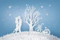 Les amants étreignent dans un pré avec l'arbre sans congé illustration stock